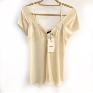 Theory One Should Button Top Ivory Silk Size P New